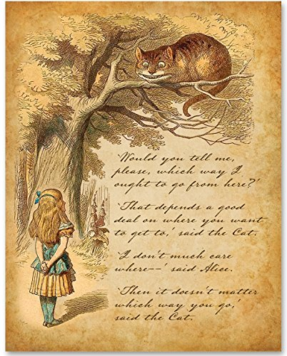 Alice Speaks to Cheshire Cat - 11x14 Unframed Alice in Wonderland Print -