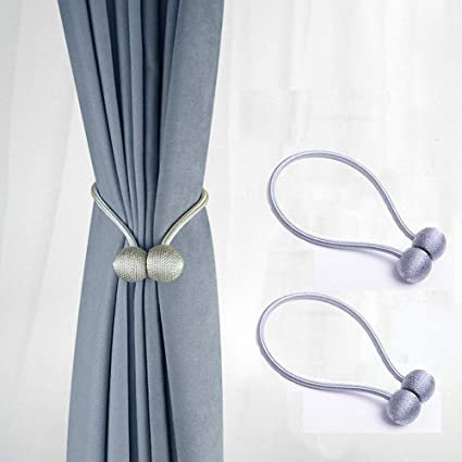 USmile Curtain Tiebacks Magnetic No Holes In The Wall Holdbacks For Bedroom