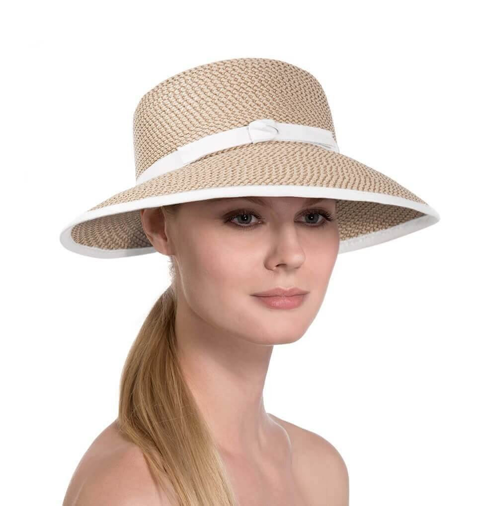 Eric Javits Luxury Designer Women's Headwear Hat - Squishee Cap - Peanut/White