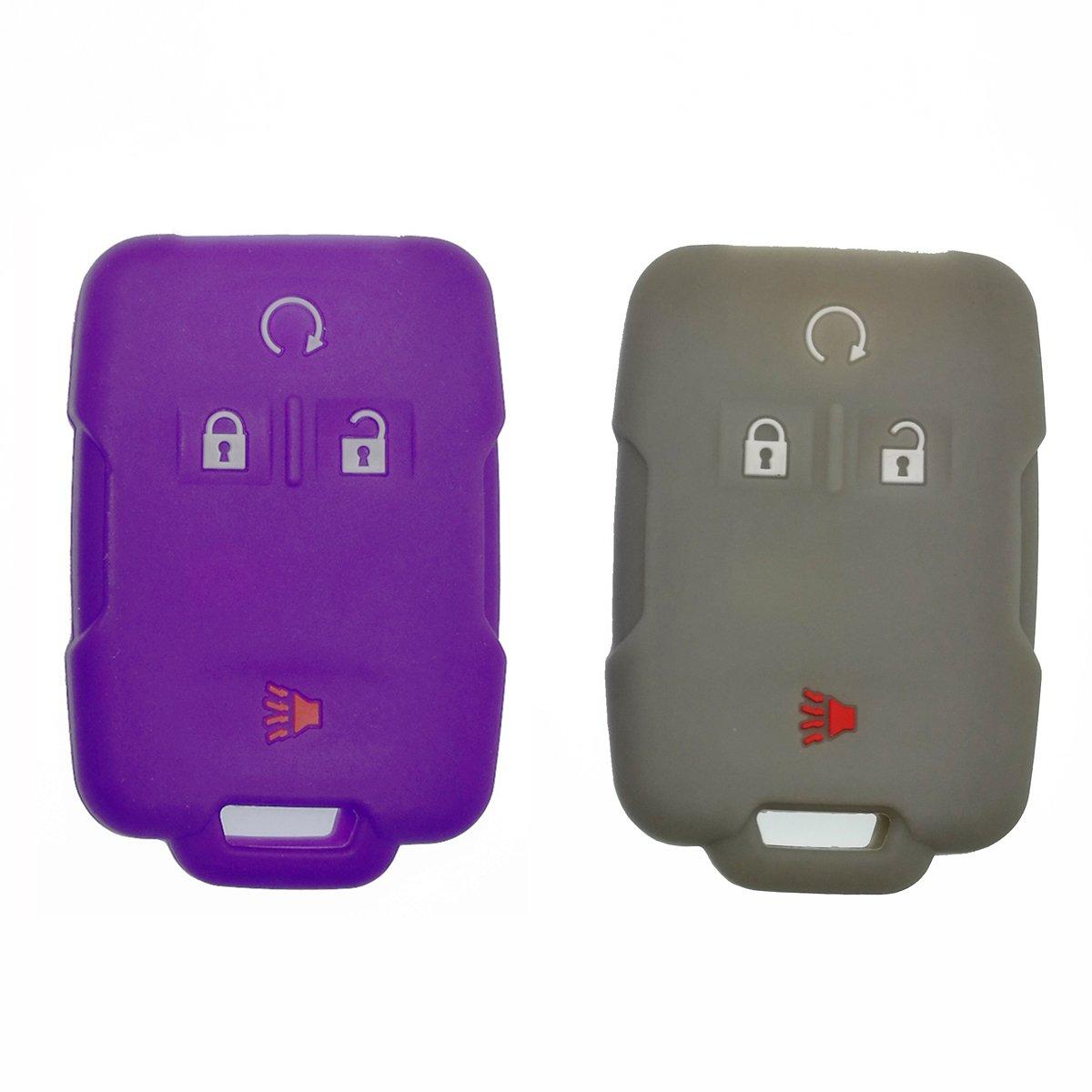 Coolbestda 2Pcs Rubber 4 Buttons Smart Key Fob Case Cover Remote Protector Holder for 2018 2017 2016 Chevrolet Chevy Silverado Colorado GMC Canyon Sierra Yukon Cadillac M3N32337100 13577770 13577771