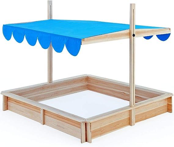 Deuba Arenero Infantíl con Techo Ajustable pivotante y Alfombra 120 x 120 cm Madera Natural Juego para niños de jardín: Amazon.es: Juguetes y juegos