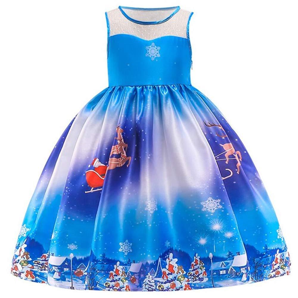 Leoie Girl Christmas Dress Santa Claus Snowflake Lace Patchwork Dress Cartoon