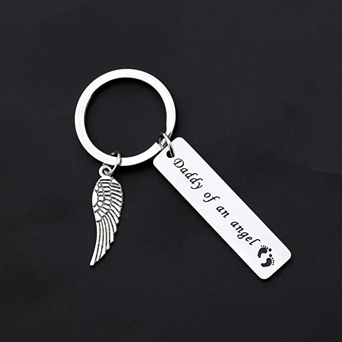 WUSUANED Baby Memorial Keychain Mommy/Daddy of an Angel Miscarriage Jewelry Loss of Child Gift
