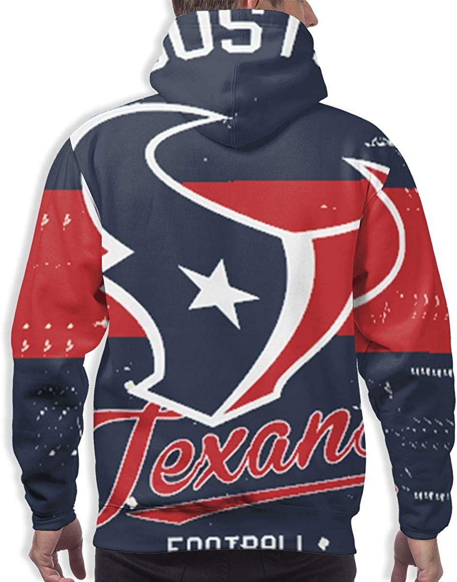 Qinxiaojun Houston Mens Classic Texans 3D All Print Hoodie