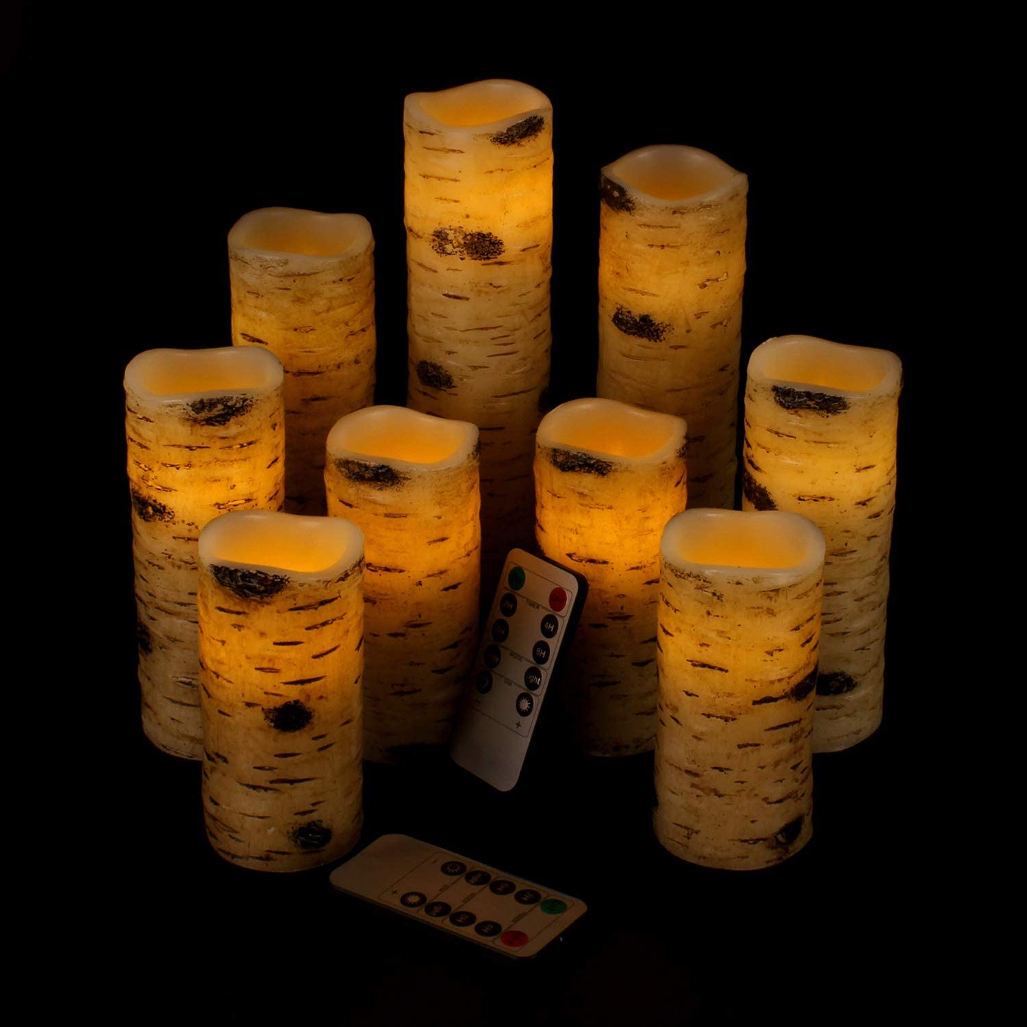 """Vinkor Flameless Candles Battery Operated Candles Birch Effect 4"""" 5"""" 6"""" 7"""" 8"""" 9"""" Set of 9 Real Wax Pillar LED Candles with 10-Key Remote Control 2/4/6/8 Hours Timer"""