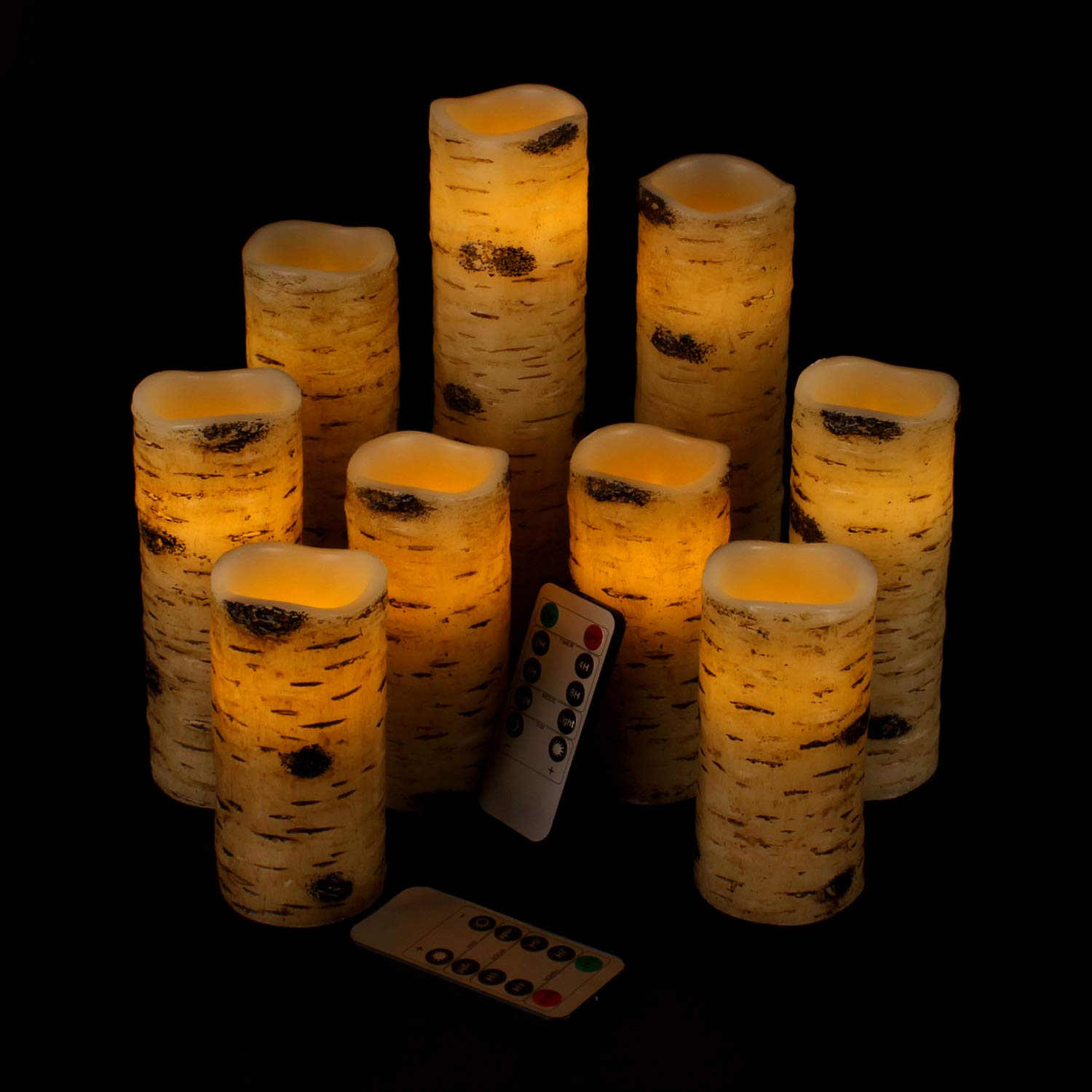 Vinkor Flameless Candles Battery Operated Candles Birch Effect 4'' 5'' 6'' 7'' 8'' 9'' Set of 9 Real Wax Pillar LED Candles with 10-Key Remote Control 2/4/6/8 Hours Timer by Vinkor