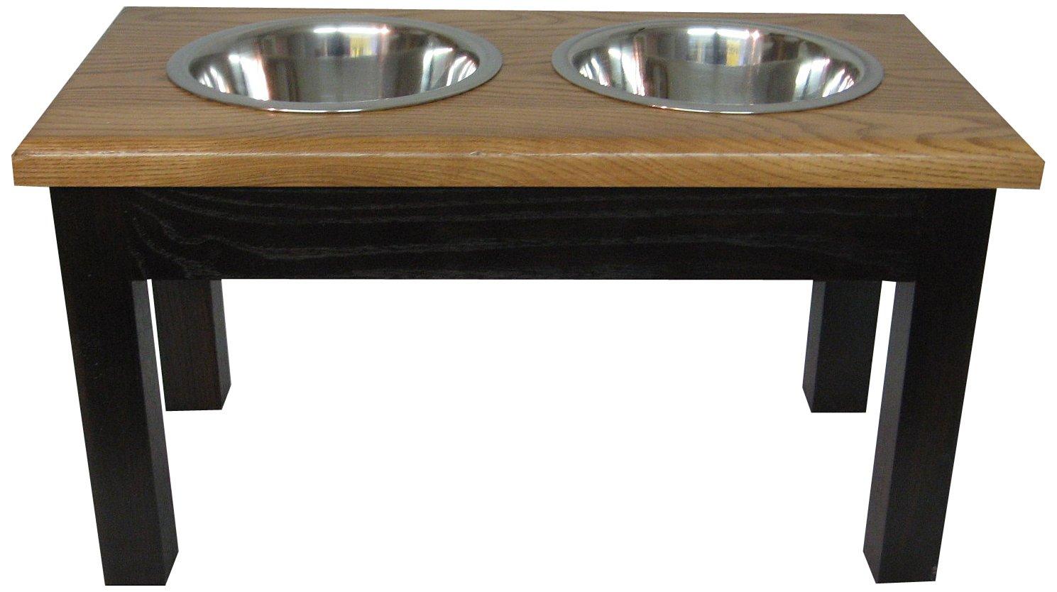 Classic Pet Beds 2-Bowl Traditional Style Ash Pet Diner, Small, Espresso/Medium Walnut