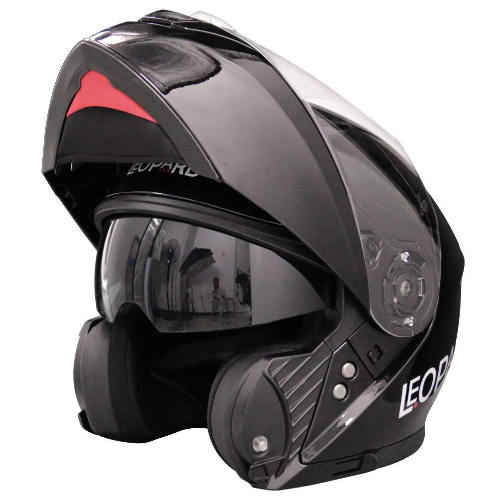 White//Grey//Black L Leopard LEO-888 Double Visor Flip up Front Motorcycle Motorbike Helmet Road Legal 59-60cm