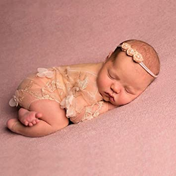 086e239785f Newborn Baby Photography Prop Lace Patal Baby Girl Romper Outfit Clothes  ( 1)  Amazon.co.uk  Baby