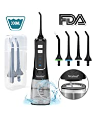 Water Flosser for Teeth, Nicefeel Portable Oral Irrigator Water Dental Flosser IPX7 Waterproof 300ML 3 Modes 4 Jet Tips Deep Clean Helps Whiten Teeth, USB Rechargeable for Home Travel with Bags