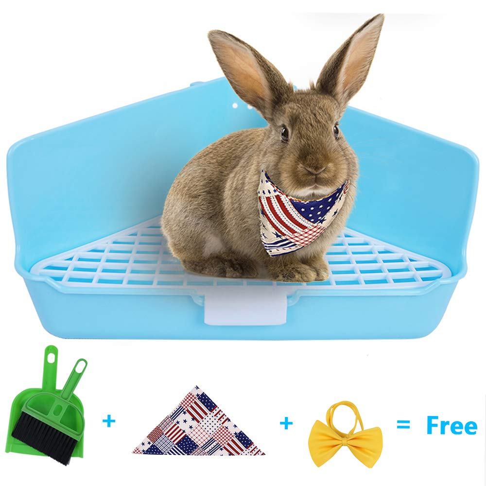 Humorous.P Rabbit Litter Small Animal Litter Potty Trainer Corner Box Toilet Triangle-Sky Blue by Humorous.P