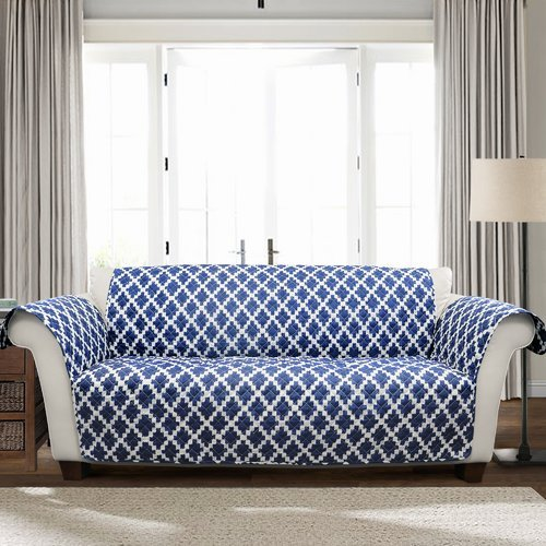 OKSLO Winston Porter Wellow Ikat T-Cushion Sofa Slipcover from OKSLO