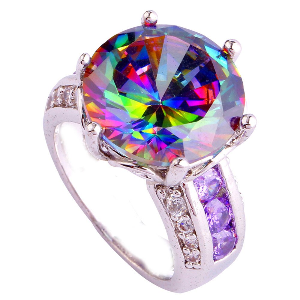 Empsoul 925 Sterling Silver Natural Chic Filled 7.5ct Rainbow & Amethyst Topaz Wedding Engagement Ring