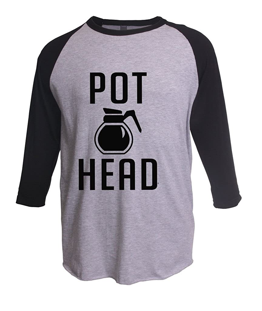 Coffee Pot Head Unisex Fine Raglan Tee Xxx Heather Grey Black Shirts