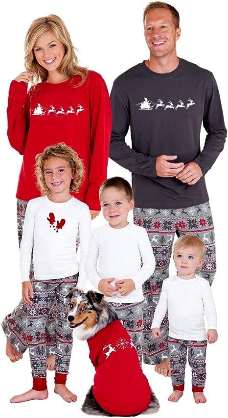 Manga Larga Camiseta con Estampado de Feliz Navidad y pantal/ón Largo con cord/ón y Bolsillos 2 Piezas,Ropa de Dormir para hombremujer Ni/ños Invierno Irevial Pijamas de Navidad Familia Conjunto