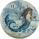 Distressed Look Mermaid Wall Clock Nautical Coastal Home Decor