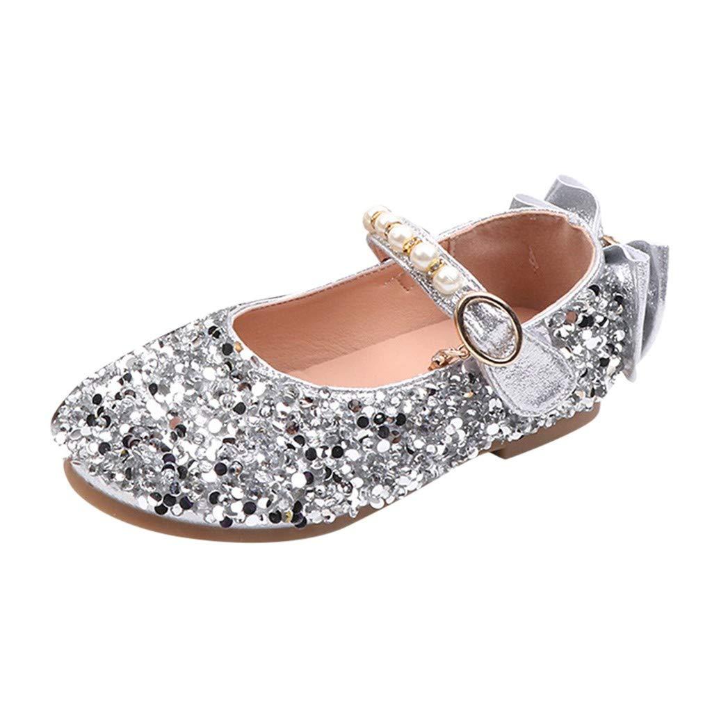 Joyance Big Children Flower Girl Rhinestone Pearl Bow Princess Shoes Dance Shoes Bridesmaid Shoes Silver