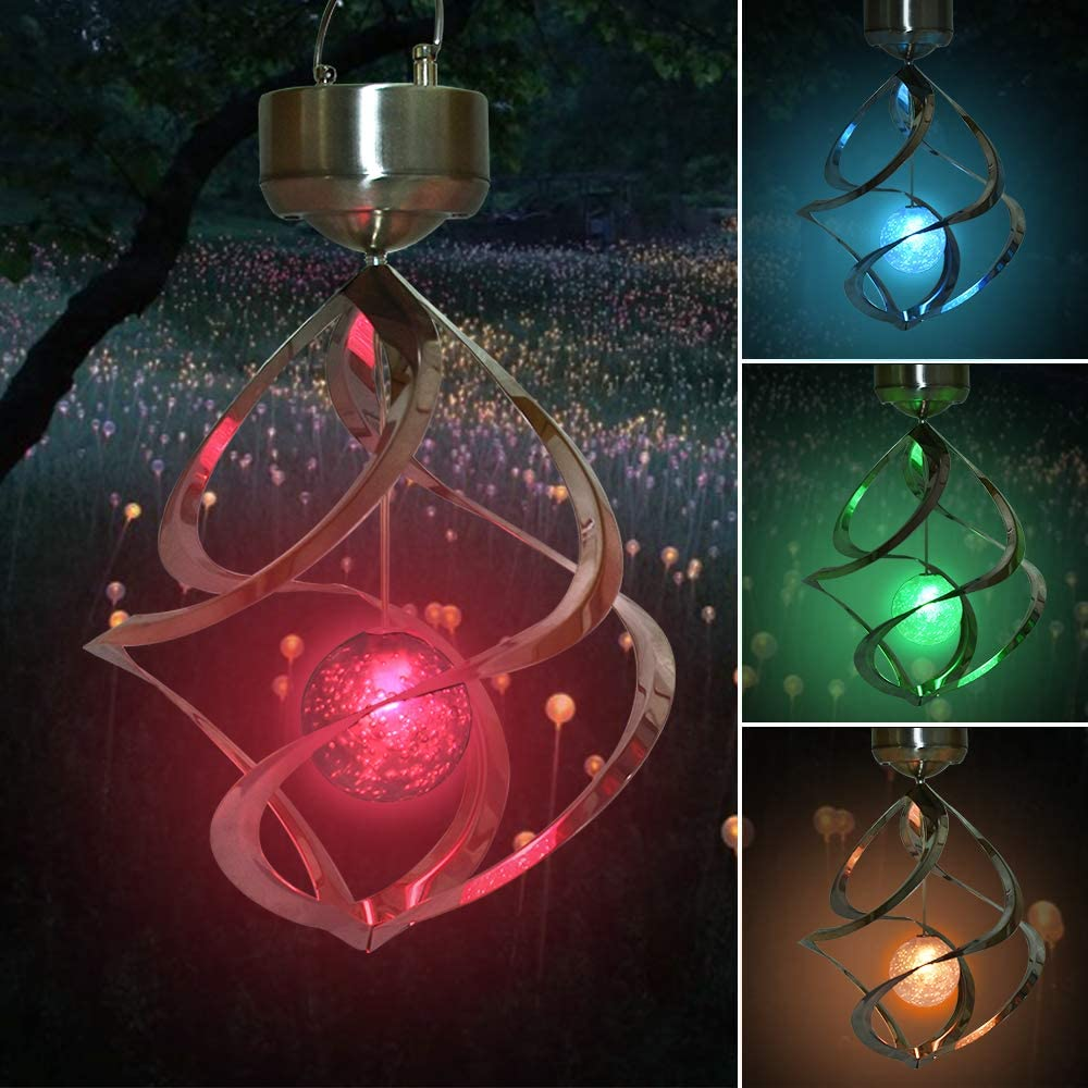 Vuzvuv Solar Wind Chimes Lights Outdoor Waterproof Hanging Color Changing Spiral Spinner LED Lamp Art Decoration Lighting for Garden, Patio, Balcony,Yard Gift for Mom