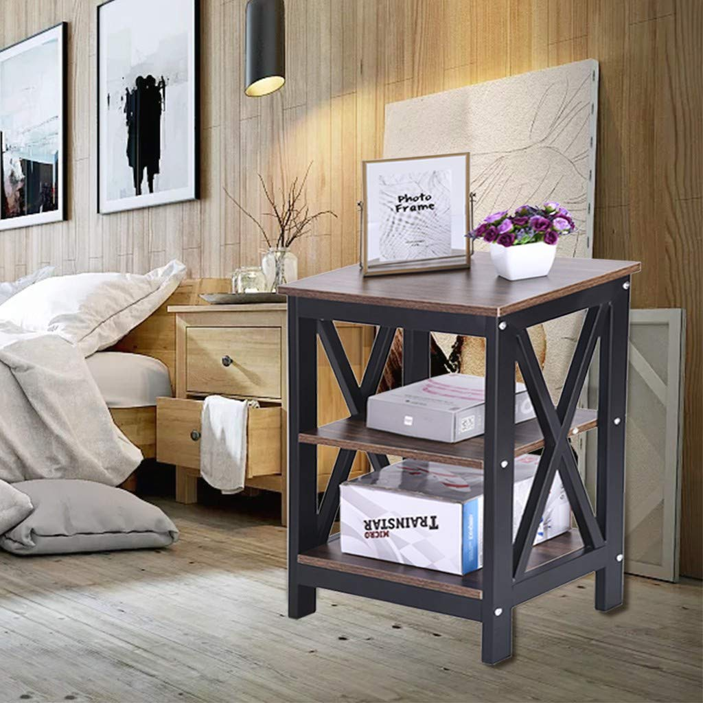 Beyonds Rustic Bedside Table, 3 - Tiered Wooded End Table Bedside Cabinet, Home Storage Unit, Nightstand Pedestal for Bedroom Wood Grain Color by Beyonds