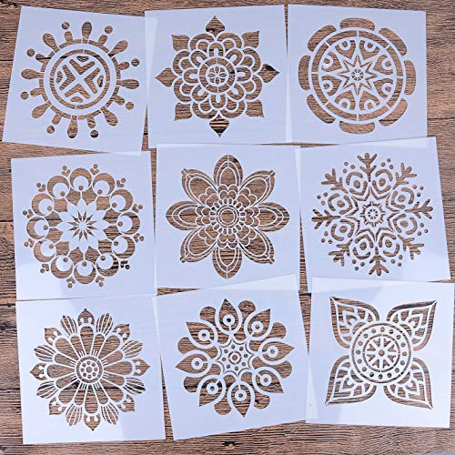 LOCOLO Reusable Mandala Floor Stencil Set of 9 (6 x 6 inch) Painting Stencil, Laser Cut Painting Template Floor Wall Tile Fabric Wood Stencils?DIY Decor