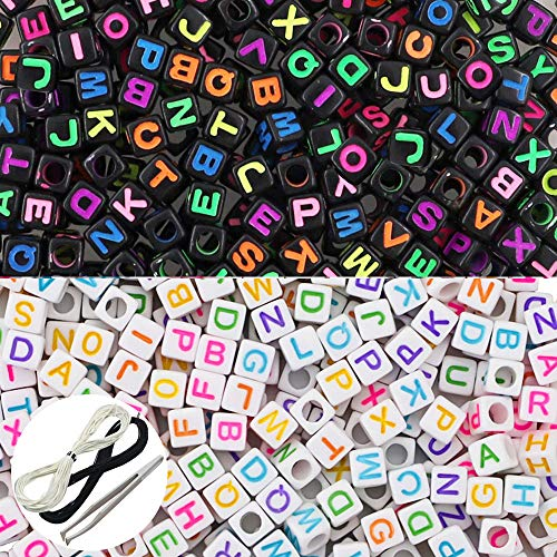 JPSOR 1000 Pcs 2 Color Acrylic Alphabet Letter Beads with 1 Pair of Tweezers, 1 Black Cord and 1 White Cord for Jewelry Making Kids DIY Necklace Bracelet