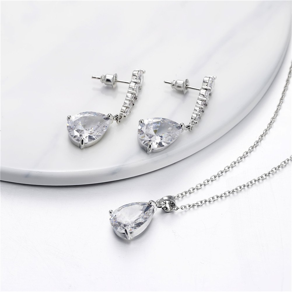 LUYUAN JEWELRY Elegant Jewelry Set for Women, Waterdrop Silver Cubic Zirconia Crystal Rhinestone Necklace Earring Best Gifts for Bridesmaid-White