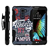MINITURTLE Case Compatible w/ LG Premier LTE |LG K10 Holster Case [Clip Armor] Rugged Cover With Built in Stand and Belt Clip Blue College Sports