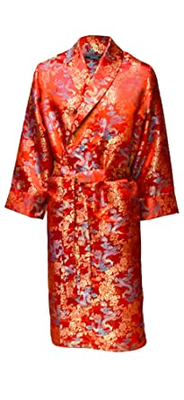 be98f87fb0a67e Men's Luxury Dressing Gown - Satin Finish, Oriental Red Dragon Design  (XX-Large