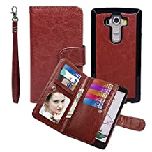Case for G G4, xhorizon TM SR [Upgraded] 2 in 1 Premium Leather [Wallet Function][Magnetic Detachable][Magnetic Car Mount Phone Holder Compatible]Folio Cover Case For LG G4 - Coffee