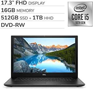 "Dell Inspiron 17 3793 2020 Premium 17.3"" FHD Laptop Notebook Computer, 10th Gen 4-Core Intel Core i5-1035G1, 16GB RAM, 512GB SSD + 1TB HDD, DVD,Webcam,Bluetooth,Wi-Fi,HDMI, Win 10 Home (Renewed)"