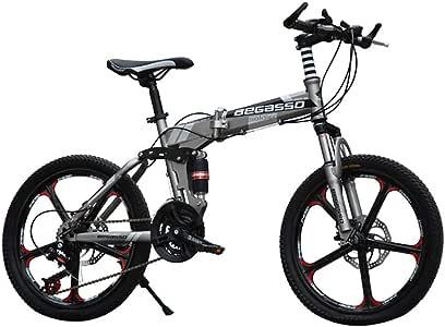 Link Co Bicicleta de montaña Plegable de 20 Pulgadas Frenos de Disco Bicicleta para niños Absorción de Choque de una Rueda Bicicleta para Estudiantes,Gray: Amazon.es: Deportes y aire libre