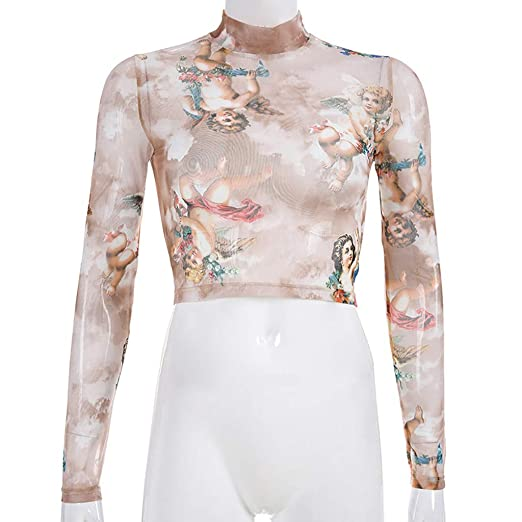 b45d04e0e4 Women Turtleneck T-Shirt,Small Angle Print Short Navel Top Fashion Long  Sleeve T