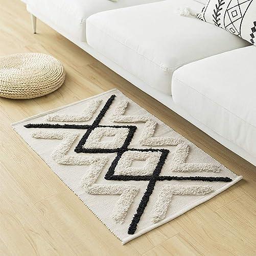 Tufted Cotton Area Rug 2 x 3 Throw Rugs Moroccan Door Mat 36 x 26 Modern Bohemian Style Indoor Floor Mat
