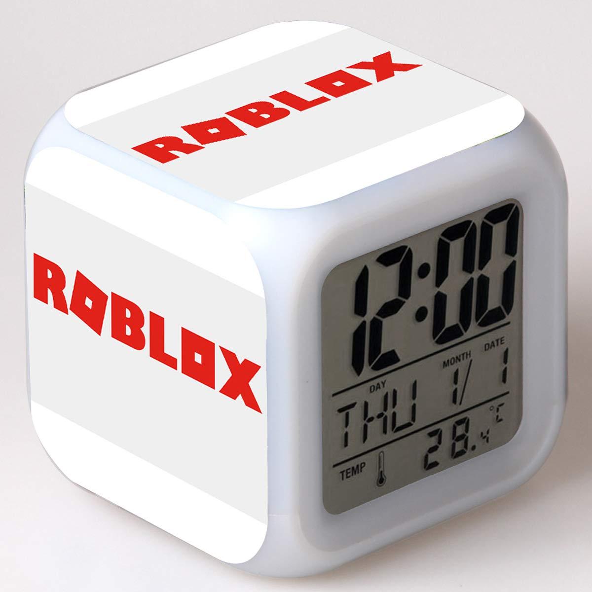 MD@Alarm clock Reloj Despertador Digital, Contains Roblox Theme Reloj Dibujos Animados Reloj Pantalla Temperatura Despertador,004