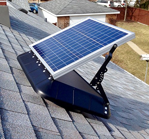 SRS SUNRISE SOLAR INC Solar Attic Fan FB 1600 TLT FT – 30 Watt SunRise Solar Fan with Thermostat & Tilting Panel