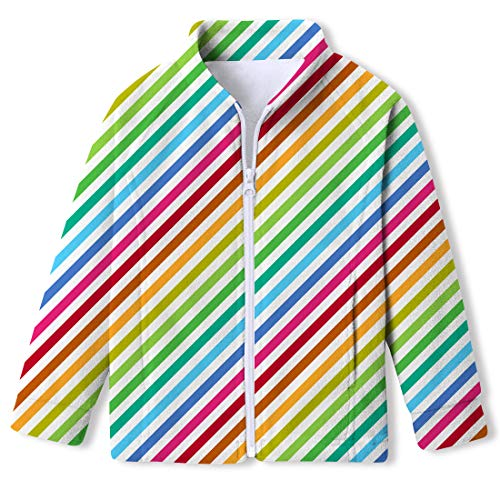 Kids4ever Polar Fleece Jacket for Girls Fully Zip Up Sweatshirt Rainbow Sweaters Long Sleeve Coat Outfits Clothes
