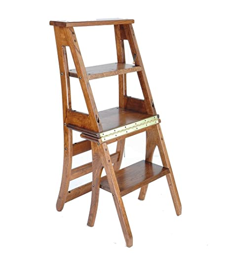 Brilliant Caijun Pure Oak Folding Ladder Chair Country Style Dining Alphanode Cool Chair Designs And Ideas Alphanodeonline
