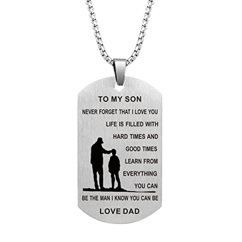 Dad Mom To Son Dog Tag Necklace Military Mens Jewelry Custom Stainless Steel Pendant Love Birthday