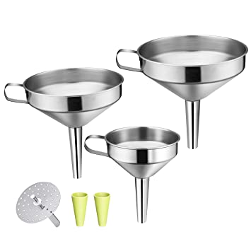 3 Pack Stainless Steel Funnels Set w.. OMorc Strainer Funnel Set Free Shipping