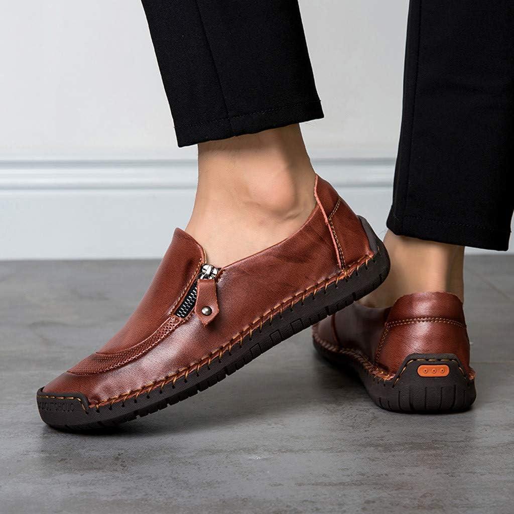 Chaussures en Cuir d/écontract/ées Respirantes /à la Mode pour Hommes Lazy Un-Legged Chaussures en Daim Affaires des Hommes Doux Rond Brillant Chaussures /à Fermeture /à glissi/ère c/ôt/é 38-48