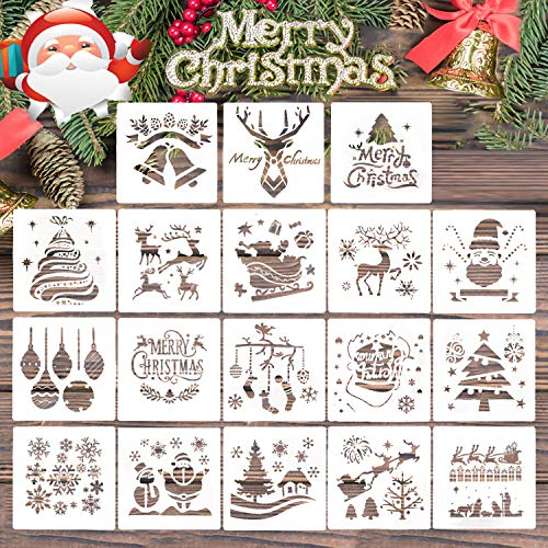 18 Pcs Christmas Stencils Template for Painting, - Reusable Plastic Craft for Art Drawing Painting , Spraying Window Glass Door Car Body Wood Journaling Scrapbook Holiday Xmas Snowflake DIY Decoratio