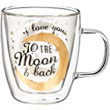 Cypress Home I Love You Glass Coffee Cup, 12 ounces