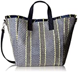Steve Madden Rumi Multi Colored Woven Geomtric Pattern Beach Tote with Zipper Pouch, Yellow
