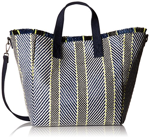 Steve Madden Rumi Multi Colored Woven Geomtric Pattern Beach Tote with Zipper Pouch, Yellow by Steve Madden