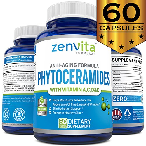 Phytoceramides (Extract from Rice) – 60 Capsules – Gluten Free & Non-GMO, Powerful Anti-Aging Formula, Skin Renewal & Hydration Ceramide Supplement, Helps to Reduce Fine Lines and Wrinkles – Supplements Review