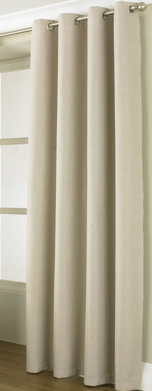 Heavy Natural Beige Thermal Blockout Single Door Curtain Eyelet Ring top Heading~ 66