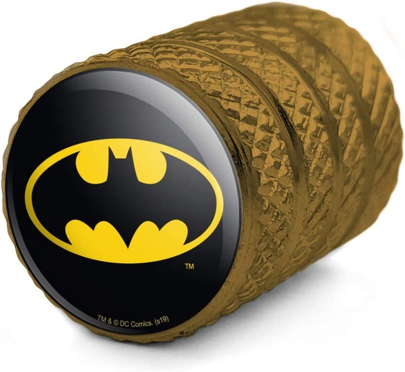 GRAPHICS /& MORE Batman Classic Bat Shield Logo Motorcycle Bicycle Bike Tire Rim Wheel Aluminum Valve Stem Caps
