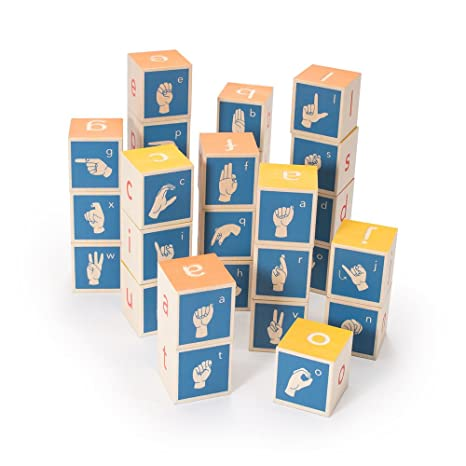 amazon com uncle goose american sign language blocks made in usa