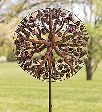 Outdoor Tree Of Life Metal Garden Wind Spinner Kinetic Sculpture   24 Dia.  X 10.25