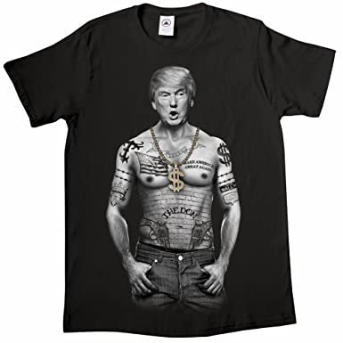 Unisex-Adult Trump Nation - Gangster Donald Trump Black T-Shirt - Medium